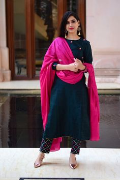 Chrome Floral Embroidered Set with Pink Dupatta (Set of - Purple Panchi Salwar Designs, Simple Kurti Designs, Stylish Dress Designs, Kurta Designs Women, Kurti Neck Designs, Kurti Designs Party Wear, Stylish Dresses, Blouse Designs, Churidhar Designs