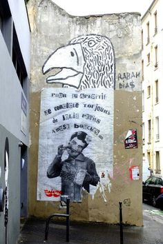 Zoo project (rip), madame (moustache) - street art - paris 20, rue des cascades (juin 2013)