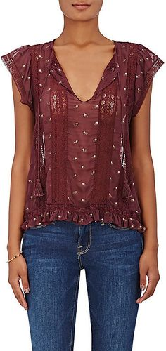 Ulla Johnson Women's Magdalena Embroidered Georgette Top-BURGUNDY