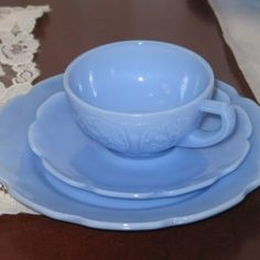 Vtg Cherry Blossom Depression Glass Delphite Blue Childrens Set Cup Saucer Plate by jonsnent