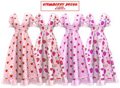 Sims Four, Sims 4 Mm Cc, Sims 4 Mods Clothes, Sims 4 Clothing, Sims 4 Cc Folder, Sims 4 Traits, The Sims 4 Packs, Sims 4 Game Mods, Strawberry Dress