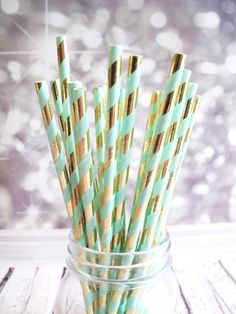 MINT GREEN GOLD Metallic Stripe 25 Paper by CandyCupcakeShop