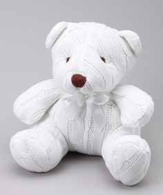 Take a look at this White Cable-Knit Plush Bear by Tots Fifth Avenue on #zulily today!