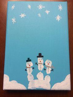 Christmas handprint snowmen on canvas