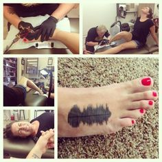 """My tattoo is a sound wave of my dad's actual voice singing the words 'I love you.'"" 