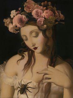 """Immortelles"" - Stephen Mackey {contemporary #surrealism art female head fantasy flowers spider woman face portrait painting} stephenmackey.com"
