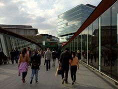 Crossing over to Westfield Stratford City over rail lines.