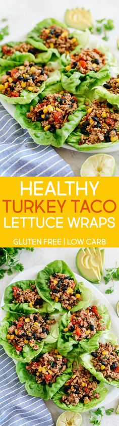 Essen Wraps Light and healthy Turkey Taco Lettuce Wraps that are an easy low carb alternative to traditional tacos, are super flavorful and take less than 20 minutes to make! Tone It Up, Tostadas, Enchiladas, Healthy Options, Healthy Recipes, Turkey Tacos, Turkey Wraps, Salat Wraps, Taco Salat