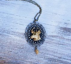 DEER Cameo Pendant Golden Stag Winter Holiday Jewelry