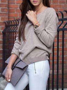 Grey Long Sleeve Round Neck T-Shirt