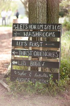 wedding signage - Love the chalkboard pallet idea!