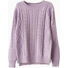 Purple High-low Cable Sweater (355 MXN) ❤ liked on Polyvore featuring tops, sweaters, shirts, choies, purple shirt, cableknit sweater, chunky cable sweater, purple top and purple cable knit sweater
