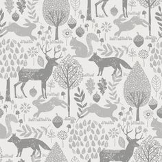 Gray Woodland Animals Fabric by Carousel Designs.