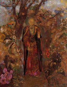 Odilon Redon  Buddha Walking Among the Flowers