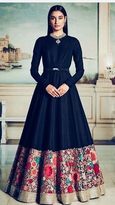 Buy Bollywood Sabyasachi Inspired Black banglori silk Wedding Gown in UK USA and Canada Indian Gowns Dresses, Pakistani Dresses, Party Wear Dresses, Party Gowns, Indian Attire, Indian Outfits, Indian Wear, Indian Designer Outfits, Designer Dresses