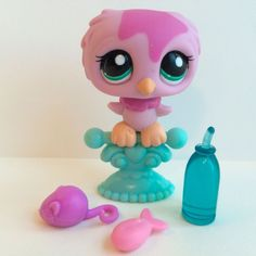 Littlest Pet Shop RARE Pink Owl #1641 w/Turquoise Eyes, Perch & Accessories #Hasbro