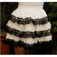 Steampunk Sweet lolita skirt frilly lace . Cream and black. one of a... ($50) ❤ liked on Polyvore