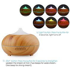 300ml Essential Oil Diffuser – InnoGear® Wood Grain Ultrasonic Cool Mist Aroma Humidifier with Timer Settings Color Changing LED lights Waterless Auto Shut Off for Home Office Baby, Christmas Gift  300ml Essential Oil Diffuser - InnoGear® Wood Grain Ultrasonic Cool Mist Aroma Humidifier with Timer Settings Color Changing LED lights Waterless Auto Shut Off for Home Office Baby, Christmas Gift   Description:   The first thing you will notice when you power on this diffuser is the plume..