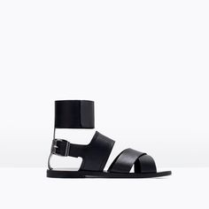WIDE STRAP LEATHER SANDALS-Shoes-Woman-SHOES & BAGS | ZARA United States