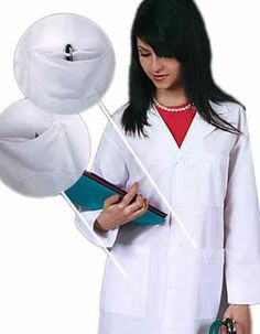 A white lab coat for women from Adar Uniforms with 40 inches in length and a notched lapel collar with a five-button closure.