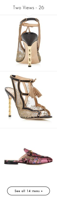 """""""Two Views - 26"""" by middletondonna ❤ liked on Polyvore featuring shoes, sandals, lacy shoes, lace-up sandals, tassel sandals, tassel shoes, lace shoes, marchesa shoes, marchesa and slippers"""