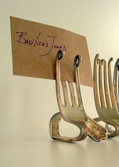 Place Card Holders  Vintage Silver Forks Set of by BasilicusJones, $166.25