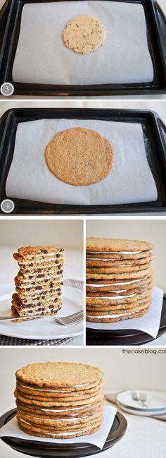 DIY cookie cake Tutorial  http://thecakebar.tumblr.com/post/44396724738/diy-chocolate-chip-cookie-cake