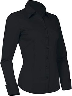 Pier 17 Button Down Shirts for Women, Fitted Long Sleeve Tailored Work Office Blouse (Small, Black) at Amazon Women's Clothing store