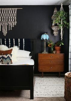 This is a great style for a Rising Barn! See our smart sized structures - Risingbarn.com.  #black #wall #woven #white #sheets #teal #wood #interior #plants #design #style #space #bedroom #chic #boho #bohemian #ideas #inspiration