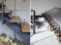 Stairs Design Idea - These wood and steel stairs seen in a renovated home, used upcycled timber from the original space for the stair treads, and the wood and steel keeps with the industrial look of the home.