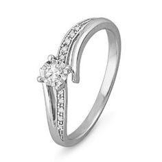 10KT White Gold Round Diamond Bypass Promise Ring (1/10 cttw), (diamond ring, engagement ring, gold ring, promise ring, rings, infinity)