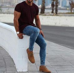 Moda Trends Magazine - Casual look. Mens Fashion Blog, Urban Fashion, Men Looks, Casual Wear For Men, Herren Outfit, Super Skinny Jeans, Mens Clothing Styles, Stylish Men, Casual Looks