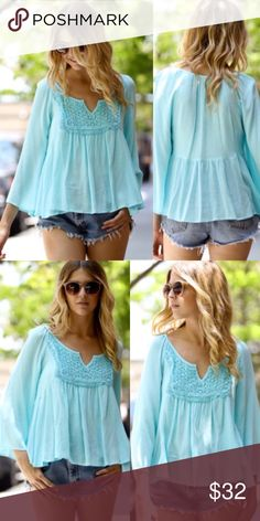 Adorable Baby Blue Crochet Bib Loose Boho Chic Top Brand new light weight top with lace crochet bib detail. Super cute! Sizes S M L. Tops Blouses