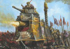 A monstrous Steam Tank plowing into battle