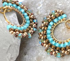 Turquoise Gold Swarovski Earrings Jewelry by lizaluksenberg, $42.00