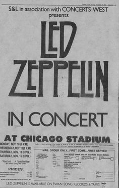 Those were the days when Zeppelin would come to Chicago for a week... my friends and I would get to at least one show per tour. Dh55