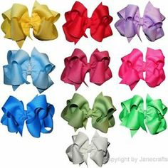 15Pcs//Set Hair Bows Girls Ribbon Lot 6 Inch X Large Alligator Clips Mix Color Ho