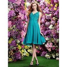Cocktail Party Dress A-line V-neck Knee-length Chiffon Dress – USD $ 199.99