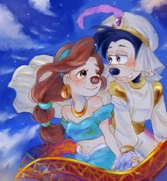 A Whole New World | by Y @ Pixiv.net // max and roxanne; goof troop; a goofy movie; #crossover; #aladdin