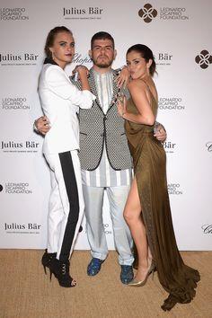Cara Delevingne in Emilio Pucci, Eli Mizrahi, and Selena Gomez in Emilio Pucci at the Leonardo Dicaprio Foundation gala.