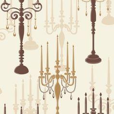 Fine Decor Candelabra Wallpaper in Cream, Brown and Gold.