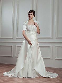 Strapless Princess Satin Wedding Dress with Short Sleeved Bolero - USD $245.99