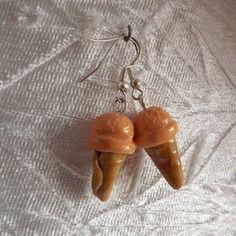 boucles d'oreilles fimo glace à l'abricot