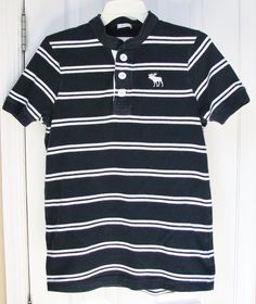 Abercrombie & Fitch Men Muscle Fit Polo Blue White Stripe Cotton Shirt M #AbercrombieFitch #PoloRugby