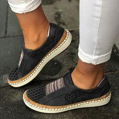 Adisputent Women Sneaker Shoes Ladies Casual Breathable Loafers Women's Flats Tenis Feminino Zapatos De Mujer Color white A Shoe Size 35 Zapatillas Casual, Tenis Casual, Casual Heels, Casual Sneakers, Women's Casual, Casual Shirts, Comfortable Flats, Comfy Shoes, Sneaker Heels