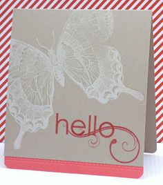 Marits blog: Butterfly card with Stampin' Up! Swallowtail, My friend, Calypso Coral ink and cardstock
