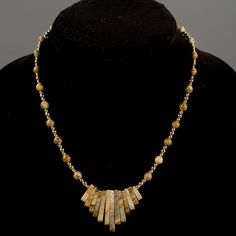 Picture Jasper Fan Necklace with Gold-Filled Beads and Clasp - pinned by pin4etsy.com