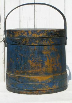antique firkin ~ Usually, a firkin is a small wooden vessel or tub for butter, lard, sugar, etc.    Typically, the firkin has a lid and handle.