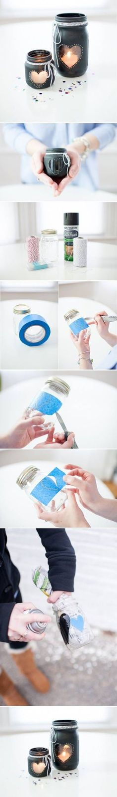 Este rápido tutorial que encontramos no Pinterest mostra como é fácil transformar potes de vidro em suportes para vela.