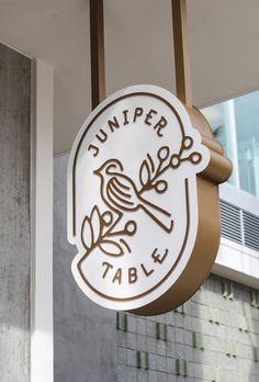 Juniper Table restaurant branding by Farm Design - corporate branding identity Logo Restaurant, Restaurant Design, Juniper Restaurant, Restaurant Marketing, Restaurant Ideas, Corporate Design, Brand Identity Design, Graphic Design Branding, Design Packaging